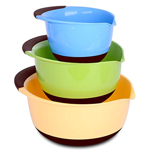 Large Mixing Bowls - Plastic Mixing Bowl Set with Handle and Pour Spout, Non-Skid Rubber Bottom, Nest for Easy Storage, BPA Free, 1.5qt, 3qt, 5qt (3 pieces)