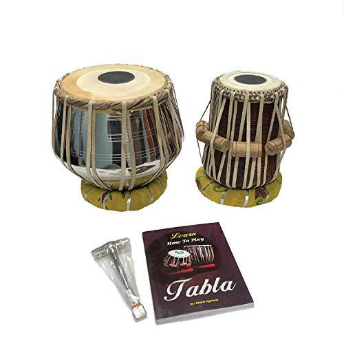 Satnam BRASS Bayan Hand Crafted Professional Brass Tabla Drum Set with Brass Tabla Set Gig Bag | Tabla Set Hammer | Tabla Set – Music Book | Tabla Cushions and Cover – Indian Musical Instrument