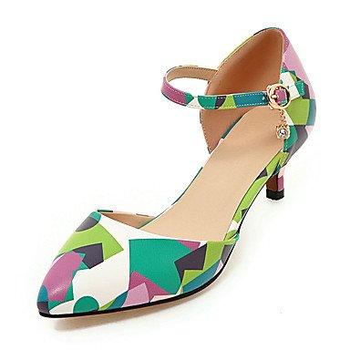 Talones de las mujeres Primavera Verano Otoño Club de los zapatos de cuero oficina y carrera del partido y vestido de noche bajo el talón del Rhinestone Gris Verde Rojo Green