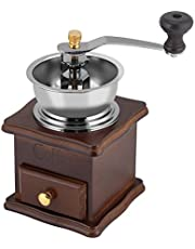 KUIKUI - Vintage Manual Coffee Bean Grinder, Classic Wooden Hand Crank Spice Grinder Machine, Adjustable Coarseness Pepper Herb Mill, Coffee Maker, Household Home Kitchen Food Office Gift