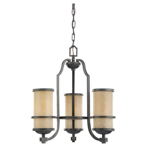 Sea Gull Lighting 31520-845 Chandelier with Creme Parchment Glass Shades, Flemish Bronze Finish