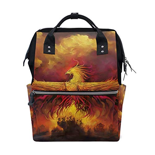 Diaper Bags Backpacks Mummy Backpack with Flying Fire Phoenix Travel Laptop Daypack