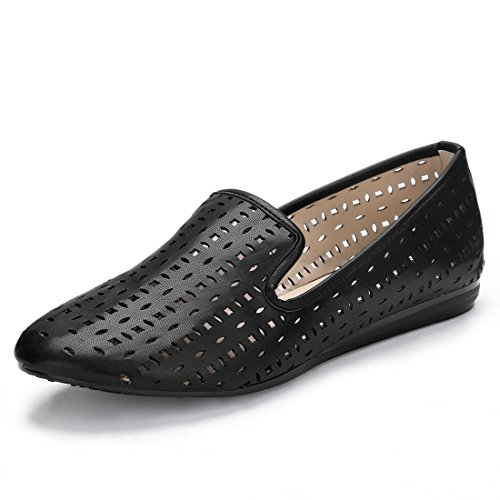 Allegra K Womens Laser Cut Slip on Loafer Flats Black ZOC31scl27