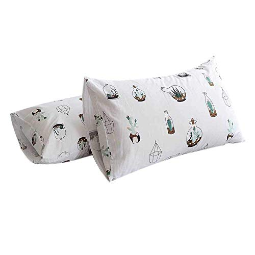 FenDie Potted Cactus Printed Pillow Cases Standard (20x 26) Size, Cotton Queen Pillow Covers Envelope Closure End, 2 Pieces, White