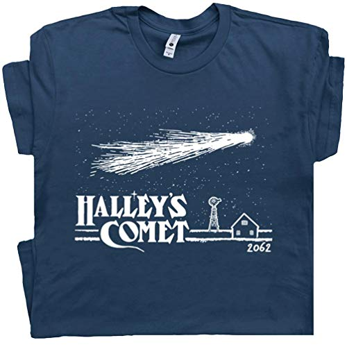 XXL - Halley's Comet T Shirt Vintage Asteroids Tee Space Science Invaders Astronomy Astrology Universe Solar System -
