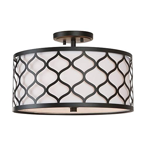 Austin Allen & Co 9D305A AA - Three Light Semi-Flush Mount, Matte Black Finish with White Glass with White Fabric Shade (Austin 3 Light Flush)