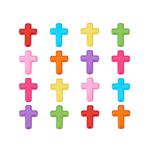 (PH PandaHall 100pcs Mixed Color Chunky Acrylic Cross Beads (16x12x4.5mm), Candy Color Cross Charm Spacer Beads for DIY Jewelry Making)