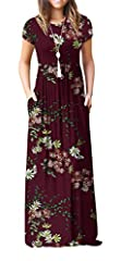 *VIISHOW Women's Short Sleeve Floral Print Loose Plain Maxi Dresses Casual Long Dresses With Pockets. *Type: maxi dress. * Pattern type: Plain/Floral Print. * Neckline: Round neck. * Sleeve length: short sleeves. * Soft and elastic side seam ...