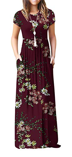 VIISHOW Women's Short Sleeve Floral Printed Dress Loose Plain Maxi Dresses Casual Long Dresses with Pockets(Floral Wine red XS)