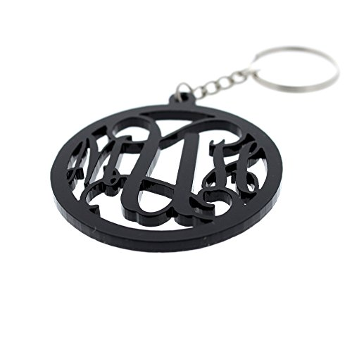 Personalized Monogram Keychain With Initials Acyrlic Laser Cut Custom Keychain Solid black