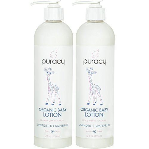 Puracy Organic Baby Lotion, Natural Calming Moisturizer, Lavender & Grapefruit, 12 Ounce (2-Pack)