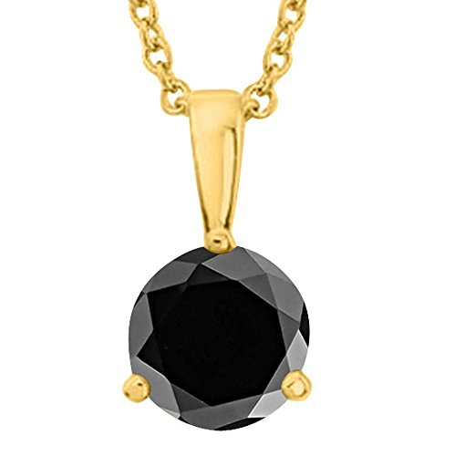 1 Carat 14K Yellow Gold Round Black Diamond 3 Prong Solitaire Pendant Necklace (AAA Quality) W/ 16