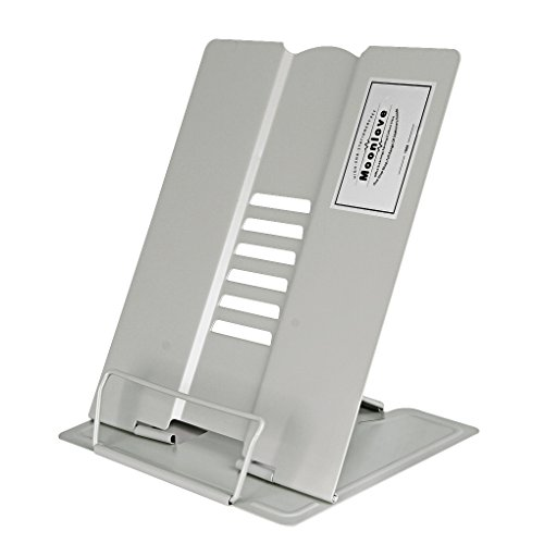 Metal Bookrest Reading Stand Set Frame Document Holder Adjustable TextBook Rack Support Myopia Prevention Display Tray with Paper Clip for Home Office Dorm ()