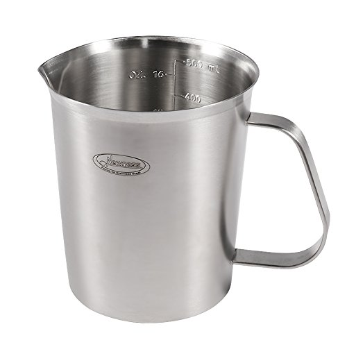Measuring Cup, [Upgraded, 3 Measurement Scales, Including Cup Scale, ML Scale, Ounce Scale], Newness Stainless Steel Measuring Cup with Marking with Handle, 16 Ounces (0.5 Liter, 2 Cup)