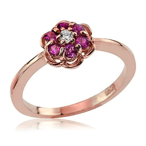 Amazon.com: 14K Rose Gold Diamond and Ruby Flower Ring