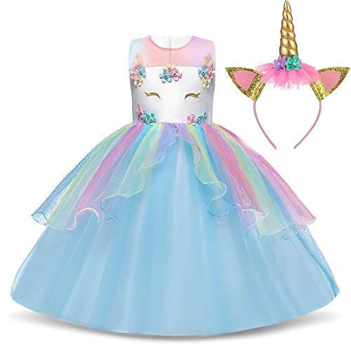 TTYAOVO Flower Girls Unicorn Costume Dress Girl Princess Pageant Party Dress 3-4 Years Blue