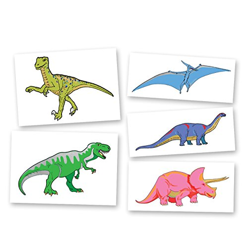 Dinosaur Variety Set includes 25 assorted premium waterproof colorful metallic kids temporary foil Fun Tats by Flash Tattoos, party favor by Flash Tattoos (Image #8)