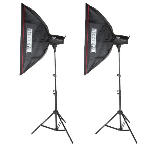 Fovitec StudioPRO 800 Watt Monolight Flash Photography Photo Studio Lighting Kit - (2) 400W/s Monolight Strobe with 24