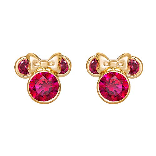- Disney Minnie Mouse 10K Gold Birthstone Stud Earrings, July Light Red Cubic Zirconia; Mickey's 90th Birthday Anniversary