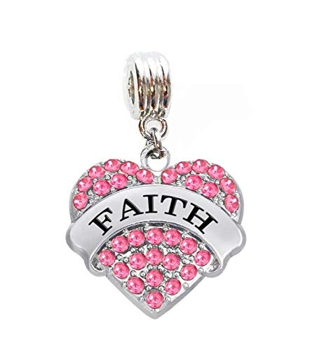 Heavens Jewelry Faith Heart with Pink Crystals Charm Slide Pendant for Your Necklace European Charm Bracelet (Fits Most Name Brands) DIY Projects ETC