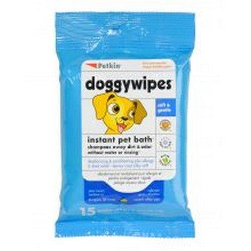 Petkin Paquete de 15 toallitas extra grandes para perros (Paquete de 15/Variado)