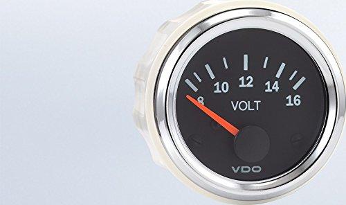 VDO 332-193 Voltmeter 8-16V - Vision (Chrome Voltmeter)
