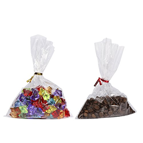 4 200k Color (Clear Flat Cellophane Treat Bags,6x8 Inch,200 Pack and Gold and Red Color Twist Ties,4 inch,200 Pack)