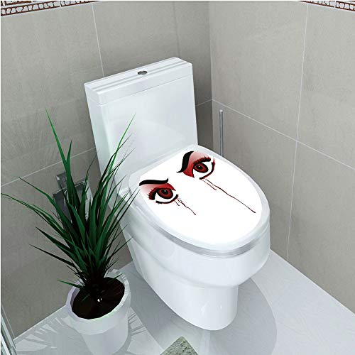 (Toilet Custom Sticker,Vampire,Red Eyes of a Woman Dropping Blood Tears Female Foe Threatening Look Danger Decorative,Black Red White,Diversified Design,W12.6