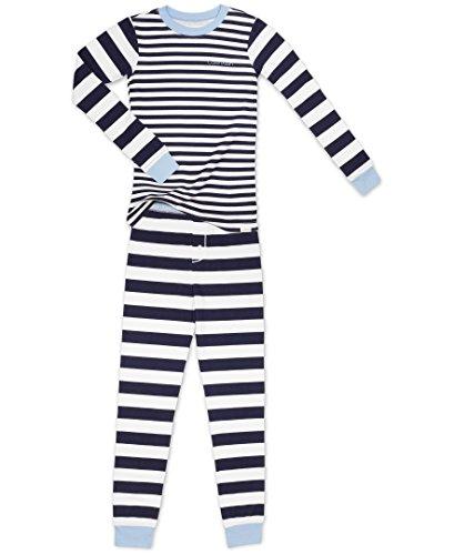 Calvin Klein Little Boys' 2 Piece Sleepwear Top and Bottom Pajama Set Pj, Long Sleeve - Tone Stripe Blue, 8T