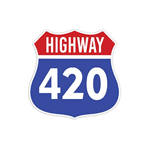 Highway 420 Weed Cannabis Marijuana - Sticker Decal Notebook Car Laptop 4 x 5 (Color)