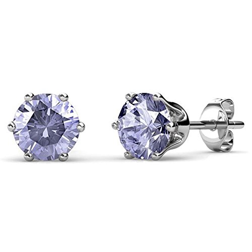 Cate & Chloe June Birthstone Stud Earrings, 18k White Gold Plated Earrings with 1ct Gemstone Swarovski Alexandrite Crystals, June Birthstone Jewelry for Women ()