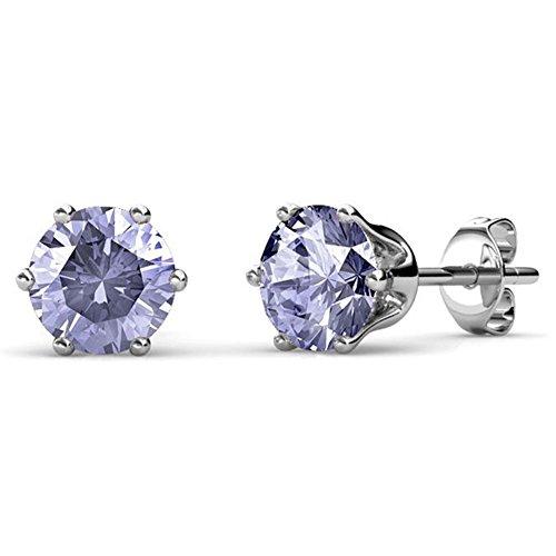 Cate & Chloe June Birthstone Stud Earrings, 18k White Gold Plated Earrings with 1ct Gemstone Swarovski Alexandrite Crystals, June Birthstone Jewelry for Women ()