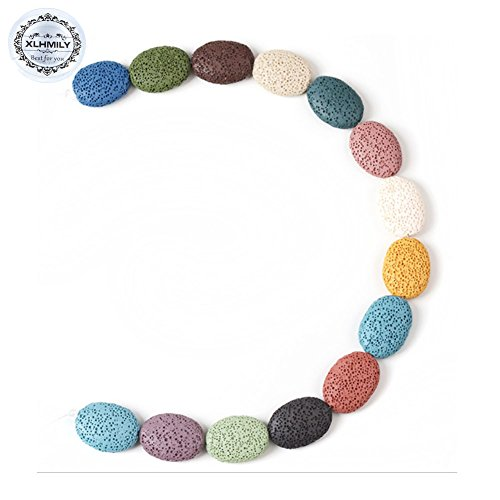 XLHMILY 15PCS 26x19x7mm Mixed Color Loose Oval Lava Stone for Essential Oils Natural Healing Gemstone Volcanic Rock Beads Strand for Bracelet Necklace DIY Jewelry Making with 1 Roll Elastic String ()