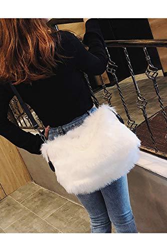 Blanc Fausse Main Hiver Howoo D'épaule Fourrure Duveteux À Poignée Sac Femmes Cercle De S Peluche Grand Bandoulière Bn1RFfq