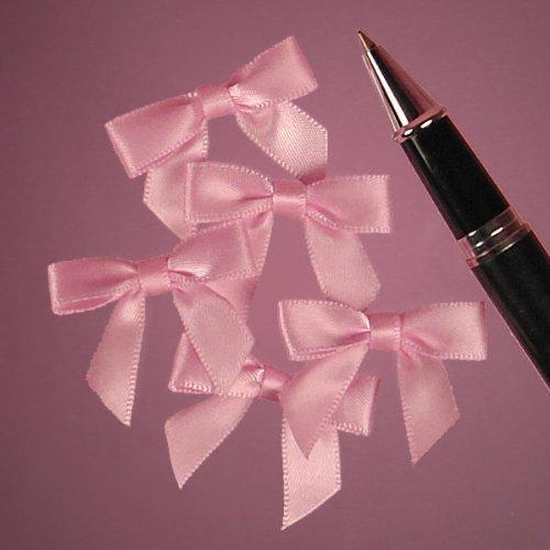 Mini Pink Satin Bows - 1 3/8 x 1 - 50 Pack ()