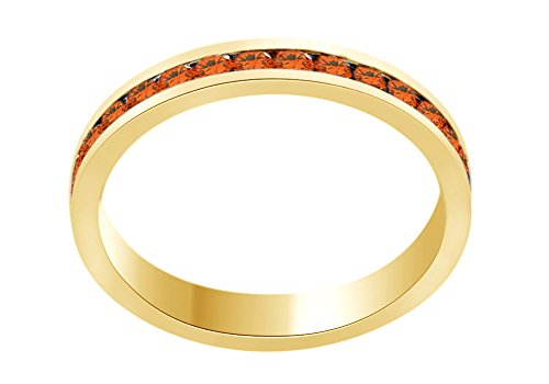 AFFY Round Shape Simulated Citrine Full Eternity Band Ring In 14K Yellow Gold Over Sterling Silver, Ring Size: 7 -