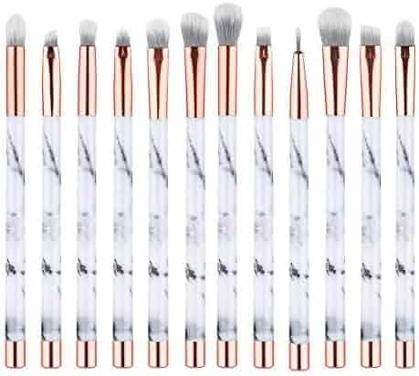 UNIMEIX Marble Makeup Brushes 12 PCs Makeup Brush Set Premium Synthetic Foundation Brush Blending Face Powder Blush Concealers Eye Shadows Make Up Brushes Kit