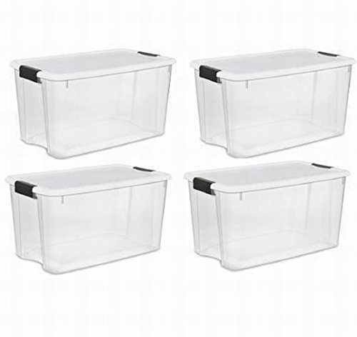 Houseuse Storage Boxes,White Lid & Clear Base with Latches,70 Quart/66Liter,4-Pack (70 Quart Ultra??? Storage Box)