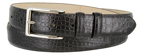Alligator Dress Belt (Adam Silver Men's Genuine Italian Calfskin Leather Dress Belt (40, Alligator Black))