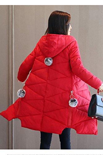 La Hooded Winter Puffer Casual Chaqueta Abrigo Parkas Chaquetas Mujer Rojo rwtqar