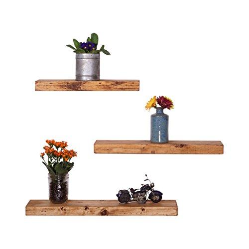 del Hutson Designs Handmade Rustic Pine Wood Floating Shelves Set of 3 (Walnut)