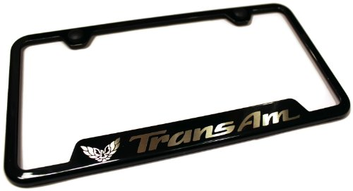 Pontiac Trans Am Stainless Steel License Plate Frame Logo Tag Black Coated Gloss (Driver Trans Am)