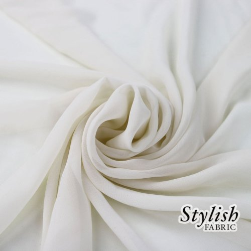 "58"" Off White Solid Color Sheer Chiffon Fabric by"