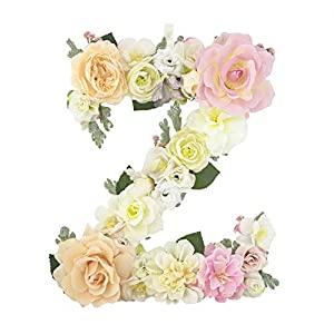 DARONGFENG Rural Style Floral Letters, Handmade Wood Artificial Flower Letter Monogram for Wall Door Desk Top Decoration, Nursery/Baby Shower/Children Room/Wedding /Birthday Party Decor (Z) 22