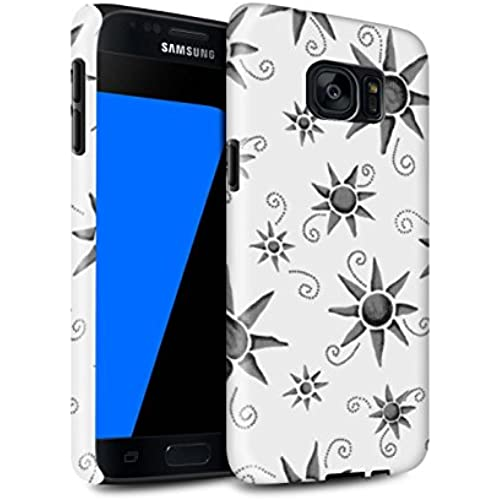STUFF4 Gloss Tough Shock Proof Phone Case for Samsung Galaxy S7/G930 / Black/White Design / Sun/Sunshine Pattern Sales