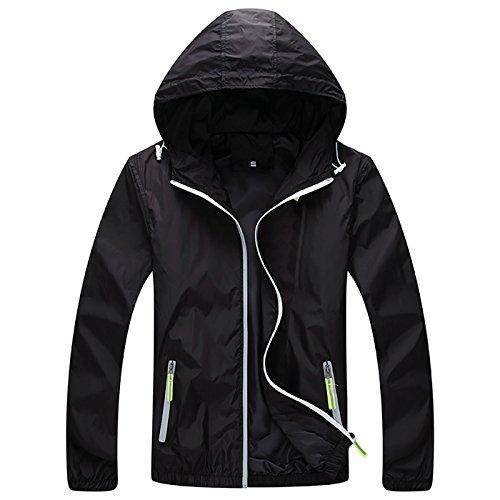 (Panegy Mens Quick Dry Running Jacket Womens Casual Skin Coat Elastic Cuffs Zippered Pockets Black 2XL)