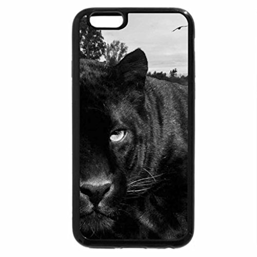 iPhone 6S Case, iPhone 6 Case (Black & White) - black big cat