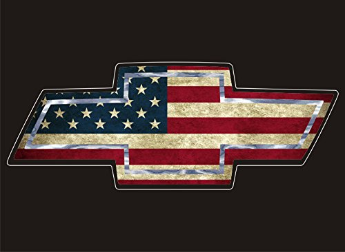 Chevy Emblem Decals (RT821 Chevy Emblem with Vintage USA Flag Full Color Vinyl Decal | Use on Yeti Cup Cooler Truck Jeep Window Boat Toolbox Tackle box Laptop Mirror | 6.5