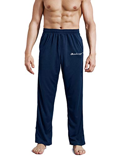 Duuluup Men Sport Pants - Quick Dry Active Sports Jersey Pants with Pockets(Blue,L)
