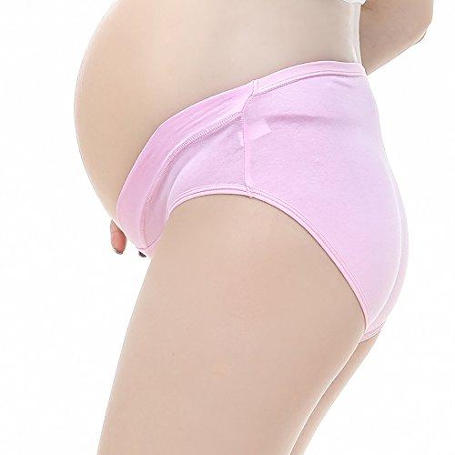 JIURUN Women's Pregnant Briefs Cotton Low-waist U-shaped Maternity Knickers Maternity Underwear Pink+yellow+purple+green+beige